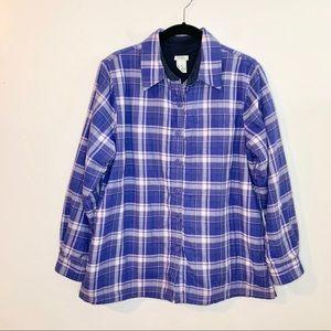 L.L. BEAN Women's Plaid Fleece-Lined Flannel Shirt